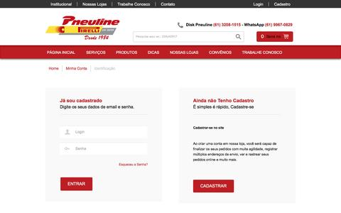 Screenshot of Login Page pneuline.com.br - Pneuline - captured Jan. 29, 2016