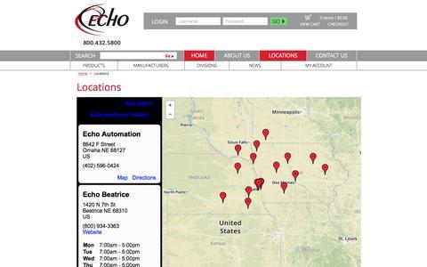 Screenshot of Locations Page echogroupinc.com - Locations | ECHO Corporate - captured Oct. 21, 2016