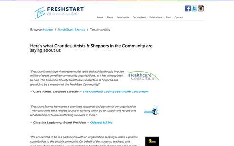 Screenshot of Testimonials Page freshstartbrands.com - Public Opinion | FreshStart Apparel: 518.303.6353 | Fresh Start Brands - captured Jan. 8, 2016
