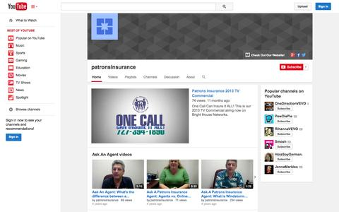 Screenshot of YouTube Page youtube.com - patronsinsurance  - YouTube - captured Oct. 22, 2014