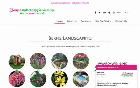 Screenshot of Home Page bernslandscape.com - Berns Landscaping Services | Commercial & Residential Landscaping - captured Oct. 5, 2018