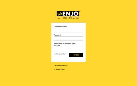 Screenshot of Login Page enjo.com - ENJO ‹ Log In - captured Sept. 26, 2018