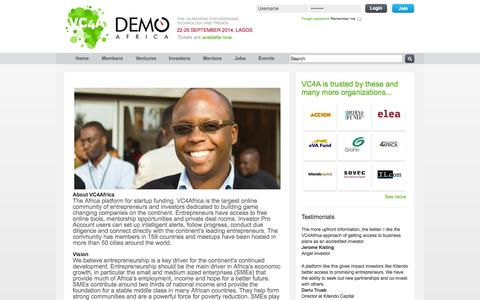 Screenshot of About Page vc4africa.biz - About Us | VC4Africa - captured Sept. 17, 2014