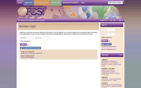 Screenshot of Login Page fcsi.org - Foodservice Consultants Society International - captured Oct. 6, 2014