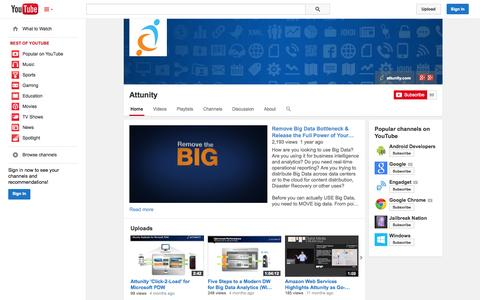 Screenshot of YouTube Page youtube.com - Attunity  - YouTube - captured Oct. 22, 2014