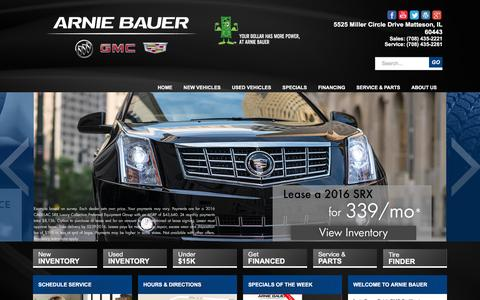 Screenshot of Home Page arniebauer.com - Arnie Bauer Buick GMC Cadillac | Matteson, IL New & Used Car Dealer - captured Feb. 6, 2016
