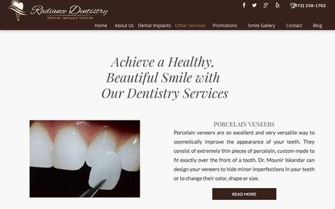 Screenshot of Services Page radiancedentistry.com - Dentistry Services - Irving, TX - Southlake, - Coppell, TX - captured May 11, 2017