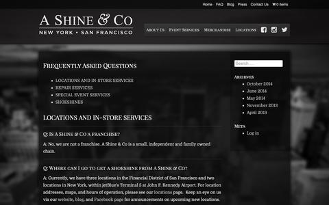Screenshot of FAQ Page ashineandco.com - Frequently Asked Questions | A Shine & Co - captured Sept. 28, 2018