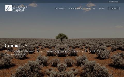 Screenshot of Contact Page bluesage.com - Contact Us | Blue Sage Capital - captured Oct. 10, 2017