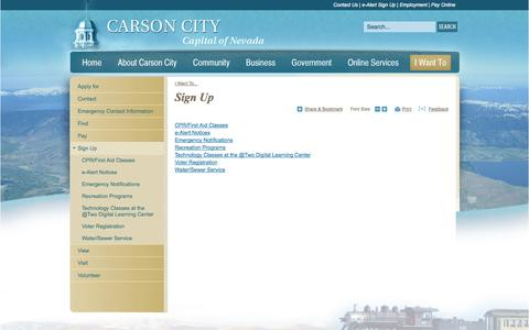 Screenshot of Signup Page carson.org - Carson City : Sign Up - captured Oct. 31, 2014