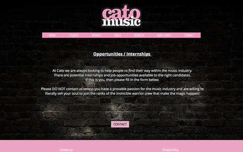 Screenshot of Jobs Page catomusic.co.uk - London Rehearsal Studios | UK | Cato Music | CAREERS - captured July 6, 2018