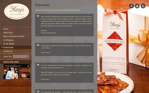 Screenshot of Testimonials Page marysgourmet.com - Testimonials Mary's Gourmet | Mary's Gourmet - captured Oct. 1, 2014