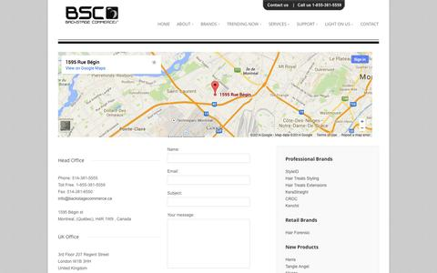 Screenshot of Contact Page backstagecommerce.ca - Backstage commerce INC - captured Oct. 5, 2014