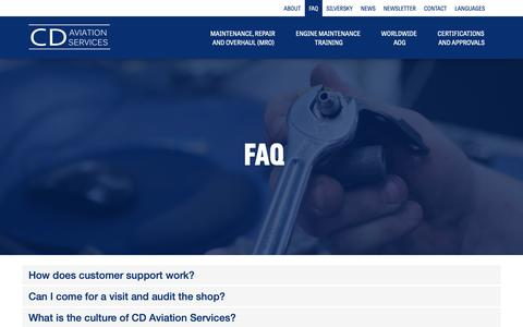 Screenshot of FAQ Page cdaviationservices.com - CD Aviation Services - captured Sept. 27, 2018