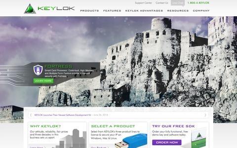 Screenshot of Home Page keylok.com - Keylok | Leading Software Piracy Solution | Protect Your Applications - captured Sept. 30, 2014