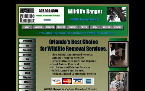 Screenshot of Home Page wildliferangerorlando.com - Wildlife Removal Orlando - captured Oct. 6, 2014