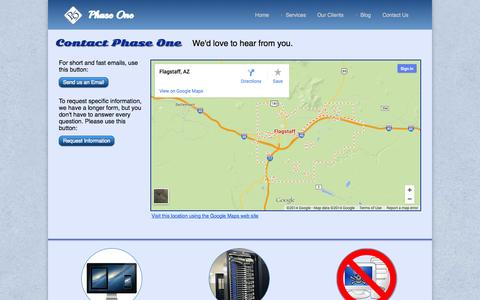Screenshot of Contact Page phaseonewebsitedesign.com - Contact Phase One Web Site Design and Hosting - captured Oct. 27, 2014