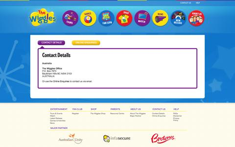 Screenshot of Contact Page thewiggles.com - The Wiggles - captured Feb. 28, 2016