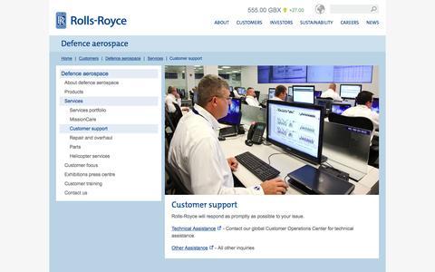 Screenshot of Support Page rolls-royce.com - Customer support – Rolls-Royce - captured Nov. 17, 2015