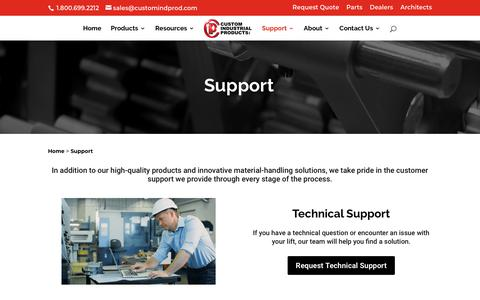 Screenshot of Support Page customindprod.com - Support   Custom Industrial Products - captured Feb. 15, 2018