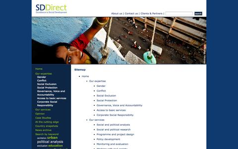 Screenshot of Site Map Page sddirect.org.uk - Social Development Direct - Sitemap - captured Oct. 26, 2014