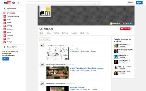 Screenshot of YouTube Page youtube.com - webmoghuls  - YouTube - captured Nov. 5, 2014