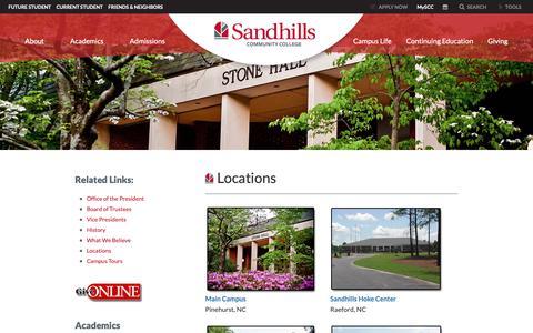 Screenshot of Locations Page sandhills.edu - Locations - Sandhills Community College - captured Oct. 2, 2018