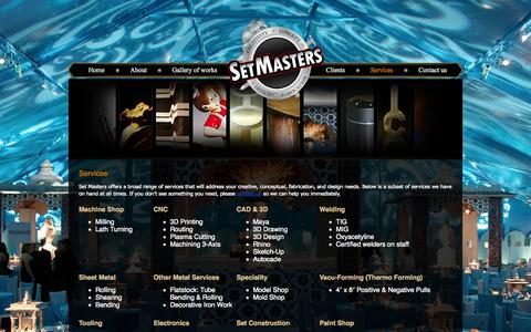 Screenshot of Services Page setmasters.com - Services | Set Masters - captured Oct. 7, 2014