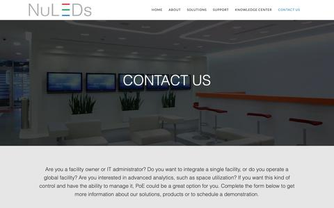 Screenshot of Contact Page nuleds.com - Contact Us | NuLEDs - Intelligent LED Lighting - captured Oct. 18, 2018