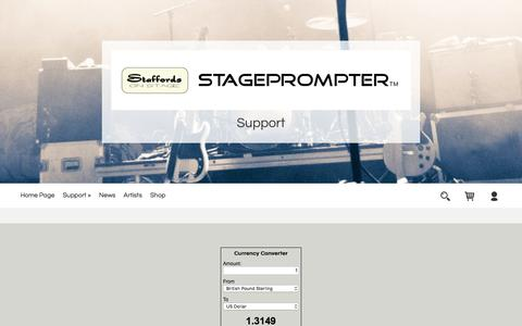 Screenshot of Support Page stageprompter.co.uk - Support for our range of Telepromter systems - captured Oct. 26, 2017