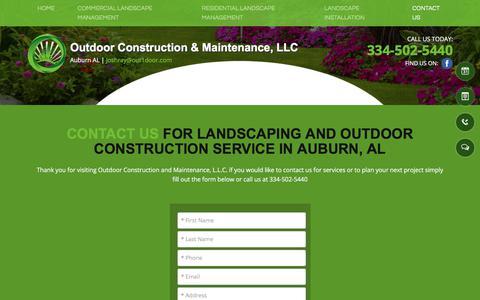Screenshot of Contact Page out1door.com - company contact - Auburn, AL - Outdoor Construction & Maintenance - captured Oct. 22, 2017