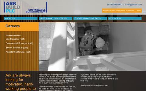Screenshot of Jobs Page arkplc.com - Ark Build - Sectors - captured Nov. 2, 2014