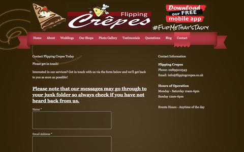 Screenshot of Contact Page flippingcrepes.co.uk - Contact Flippping Crepes | Mobile Catering Service - captured Aug. 15, 2018