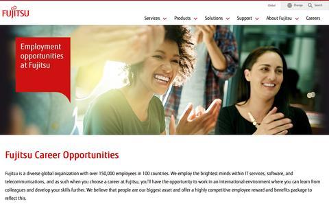 Screenshot of Jobs Page fujitsu.com - Career and Employment Opportunities : Fujitsu Global - captured Aug. 7, 2019