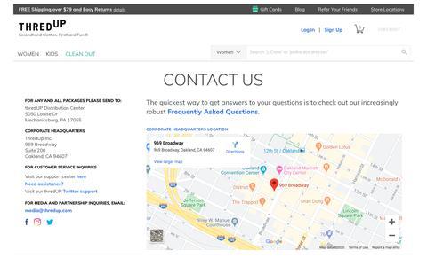 Screenshot of Contact Page thredup.com - Contact Information for thredUP - captured Feb. 24, 2020