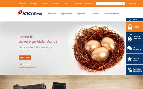 Screenshot of Home Page icicibank.com - Personal Banking, Online Banking Services - ICICI Bank - captured Jan. 20, 2016