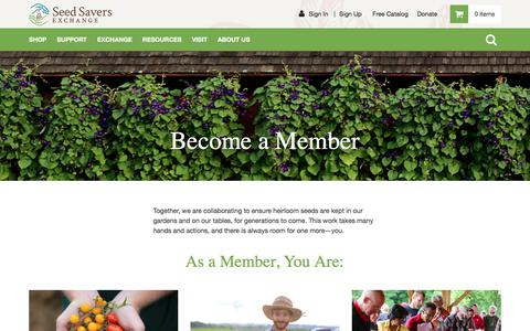 Screenshot of Signup Page seedsavers.org - Join - Seed Savers Exchange - captured Sept. 22, 2018