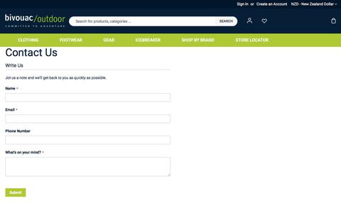 Screenshot of Contact Page bivouac.co.nz - Contact Us - captured Jan. 2, 2020