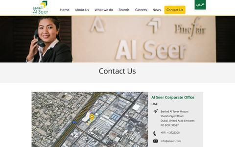 Screenshot of Contact Page alseer.com - Contact Us - Al Seer Group - captured Nov. 2, 2014