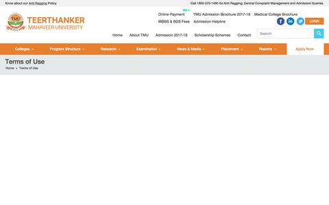 Screenshot of Terms Page tmu.ac.in - Terms of Use - Teerthanker Mahaveer University - captured Sept. 29, 2017