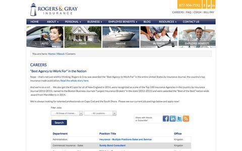 Screenshot of Jobs Page rogersgray.com - Employment Opportunities | Massachusetts Insurance Agents - captured Dec. 1, 2016