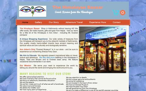 Screenshot of Home Page thehimalayanbazaar.com - The Himalayan Bazaar, Fair Trade gift shop downtown Ann Arbor, Mi - captured Nov. 9, 2017