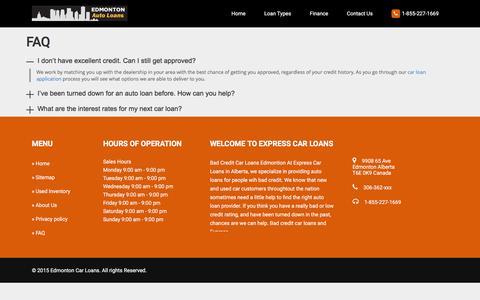 Screenshot of FAQ Page edmontonautoloans.com - FAQ | Edmonton Autoloans - captured Dec. 7, 2015