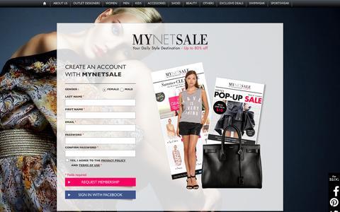 Screenshot of Signup Page mynetsale.com.au - Shop fashion online : designer clothing, handbags & shoes | Mynetsale - captured Sept. 23, 2014