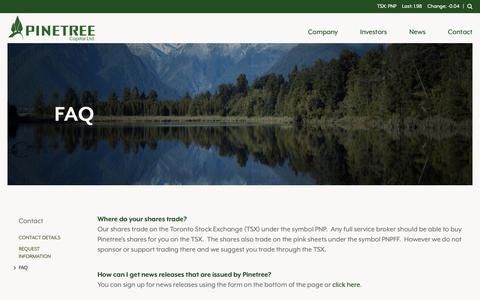 Screenshot of FAQ Page pinetreecapital.com - Pinetree Capital - FAQ - captured Sept. 28, 2018