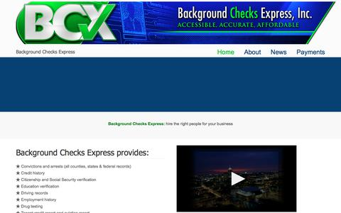 Screenshot of Home Page bcxcorp.com - Background Checks Express – Background Checks Express - captured July 10, 2018