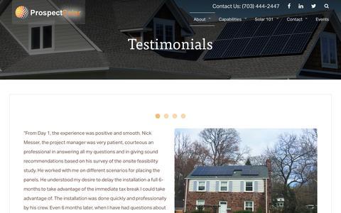 Screenshot of Testimonials Page prospectsolar.com - Testimonials | Prospect Solar - captured May 22, 2017
