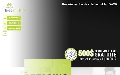 Screenshot of Home Page cuisinenewzone.com - Cuisine NewZone - rénovation et refacing d'armoire de cuisine - captured May 23, 2017