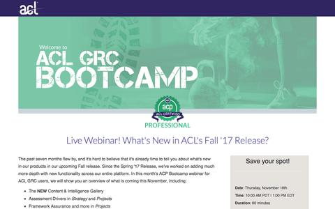 Screenshot of Landing Page acl.com - What's New in ACL's Fall '17 Release? - captured Sept. 19, 2018