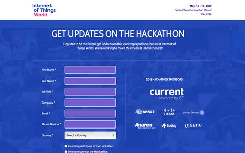 Screenshot of Landing Page knect365.com - Hackathon Updates | Internet of Things World - captured May 4, 2018